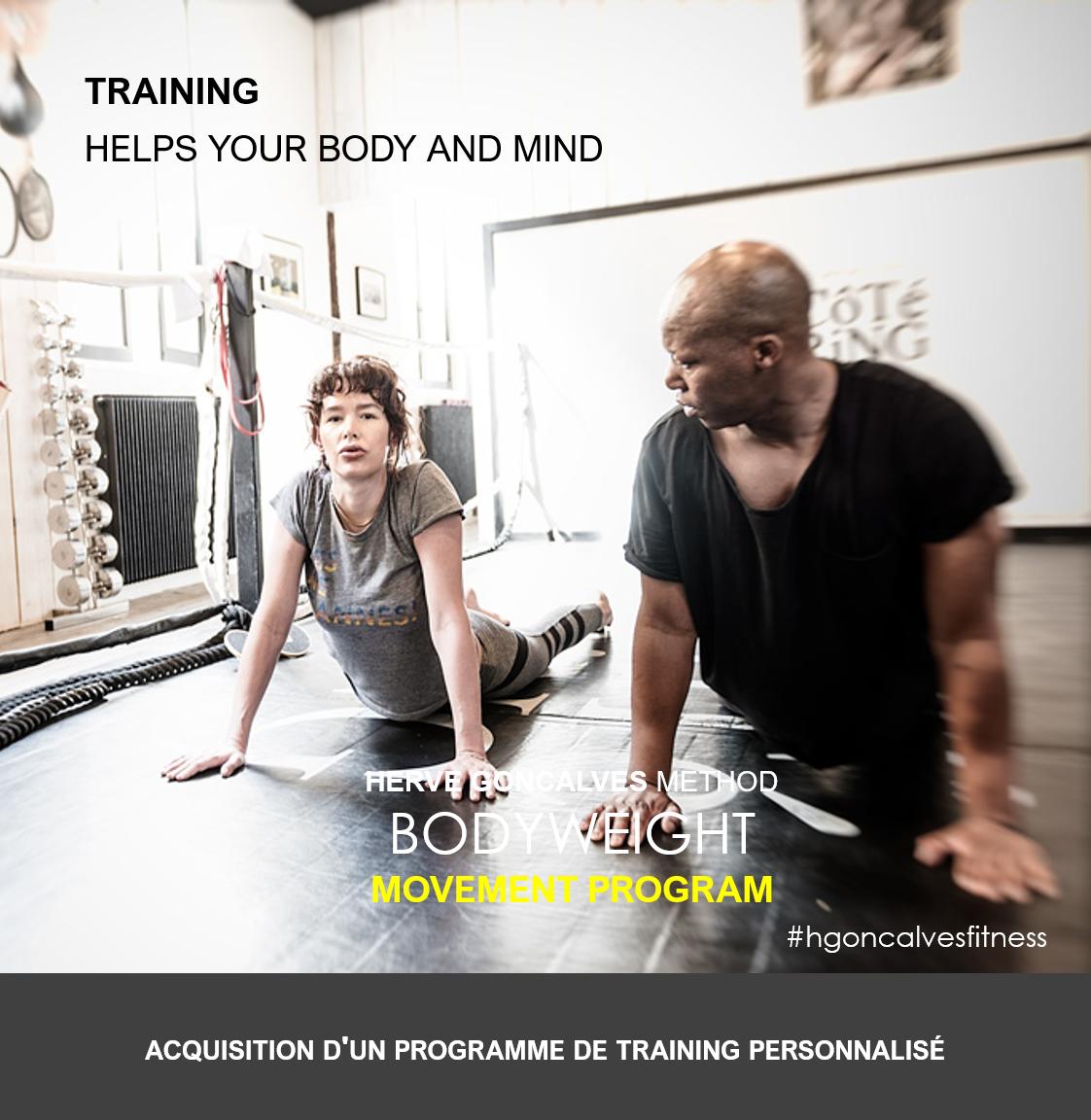 PROGRAMME DE TRAINING PERSONNALISÉ (Customized bodyweight program)